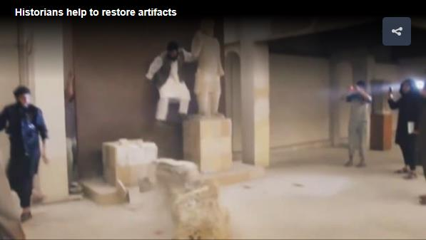 Screenshot of Taliban destroying ancient buddhas