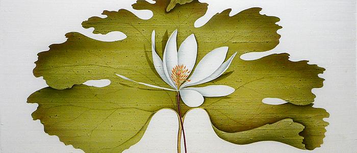 embroidered weaving of lotus flower by Deborah Falls
