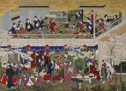 Painting showing Japanese women in kimonos entertaining and going about their business