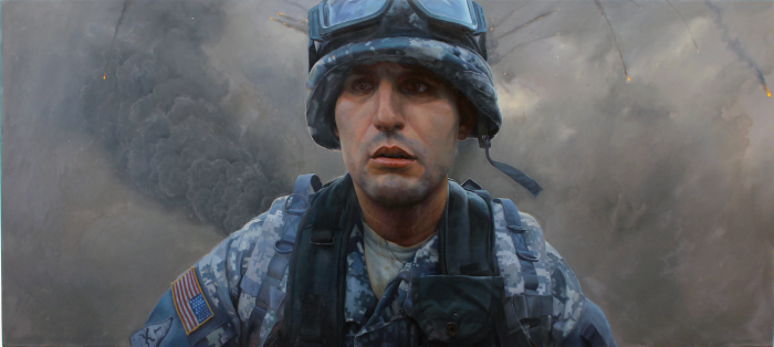 Painting of US soldier in battle