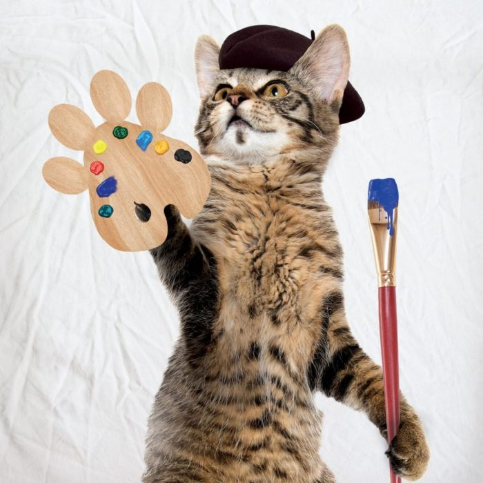 Cat in beret holding palette and brush