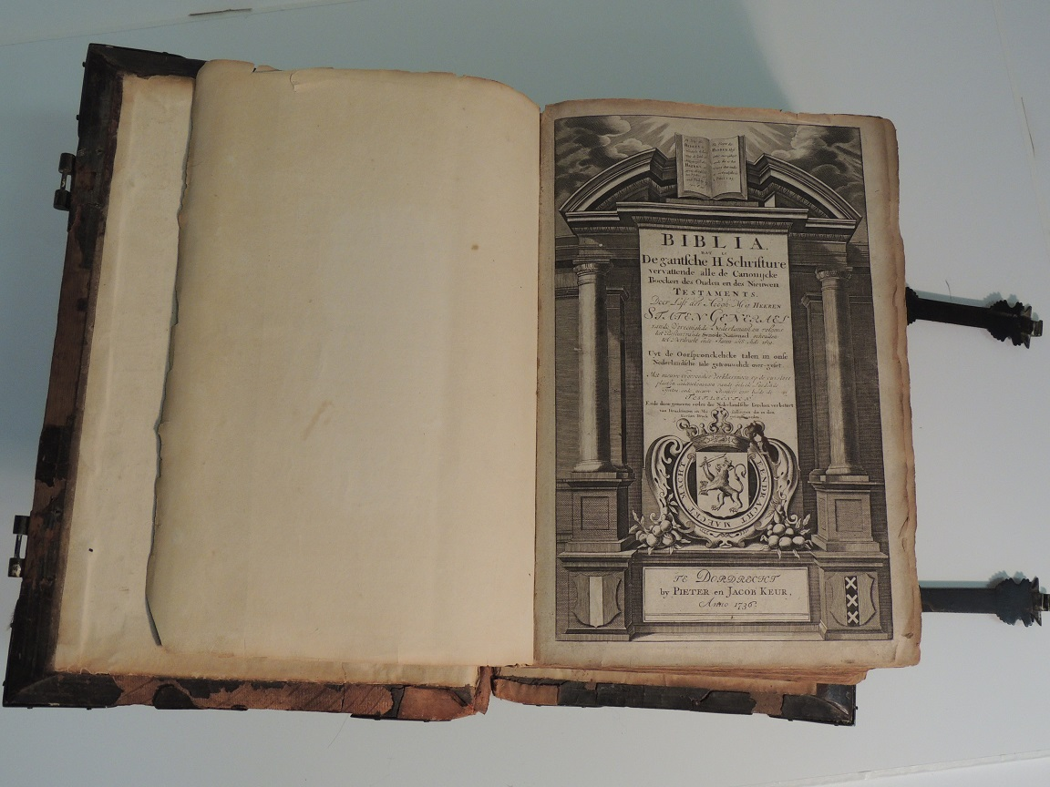 Old Bible opened to frontspiece