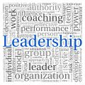 Word cloud graphic with leadership in blue