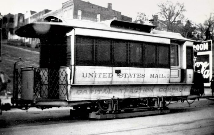 photo of trolley with United States Mail painted on side