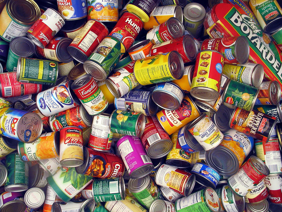 Pile of generic canned goods
