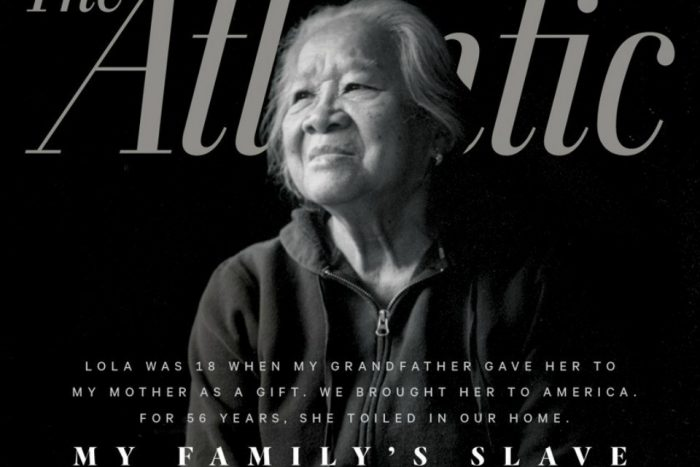 Magazine cover featuring older Asian woman against black background