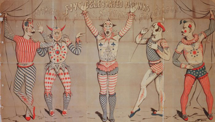 Antique circus poster featuring drawings of five clowns