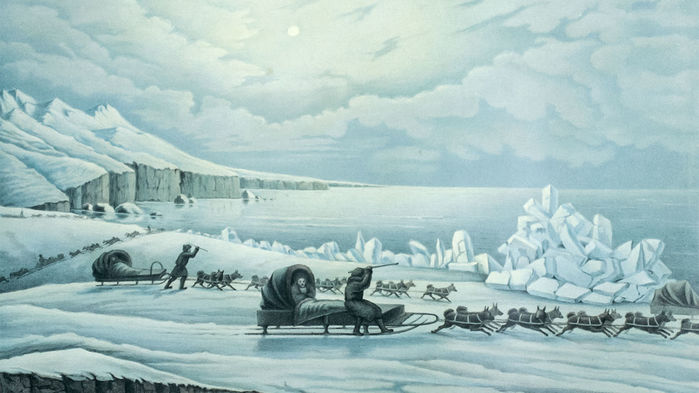 Painting of dog sledders