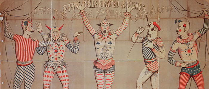 cropped version of circus poster featuring clowns