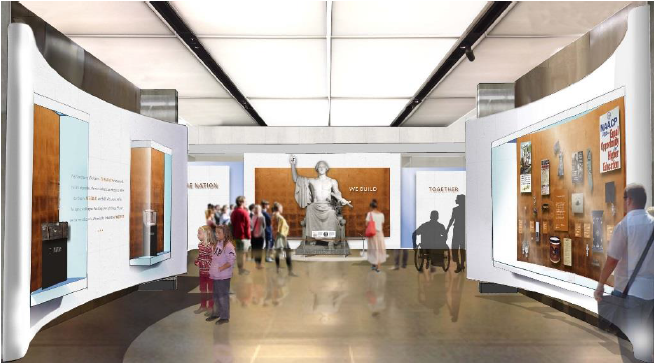 artists rendering of gallery hall with statue