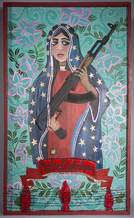 multi media work showing madonna like figure with a gun