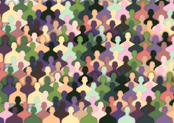 Abstract graphic showing people of many colors