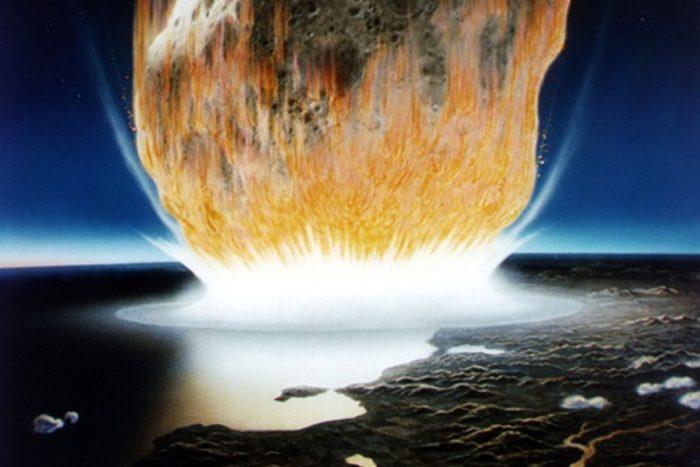 artists rendering of asteroid strike