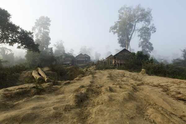 huts surrounded by bare ground