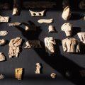 Artifacts arranged on black cloth