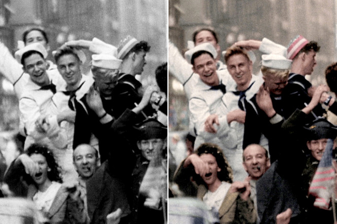 Composite of black and white and color photos