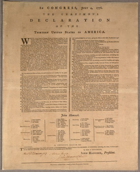 Printed copy of Declaration of Independence