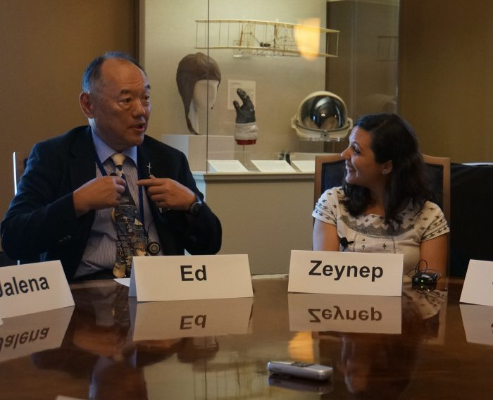 Ed and Zeynep seated at roundtable in Secretary's parlor