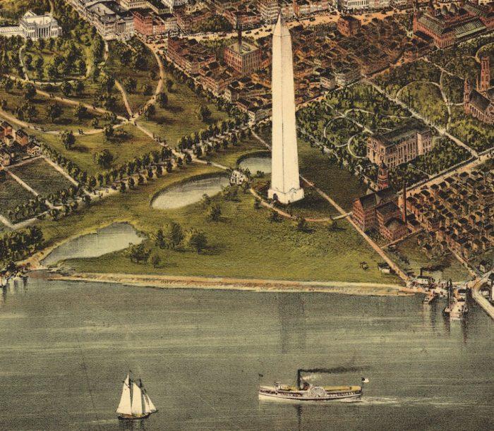 Lithograph of Washington monument and tidal basin