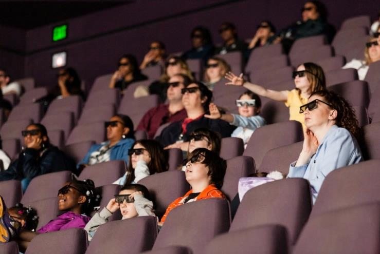 Audience wearing 3D glasses