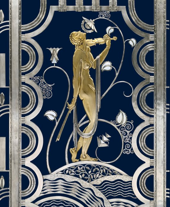 Art Deco design of woman on enameled screen