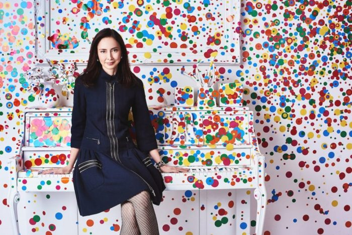 Chiu poses in polka-dot Infinity Mirrors exhibition