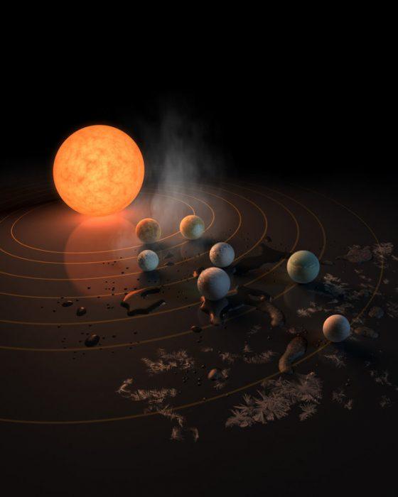 Artists rendering of planets orbiting sun