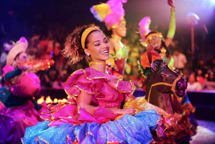 Performer in colorful costume