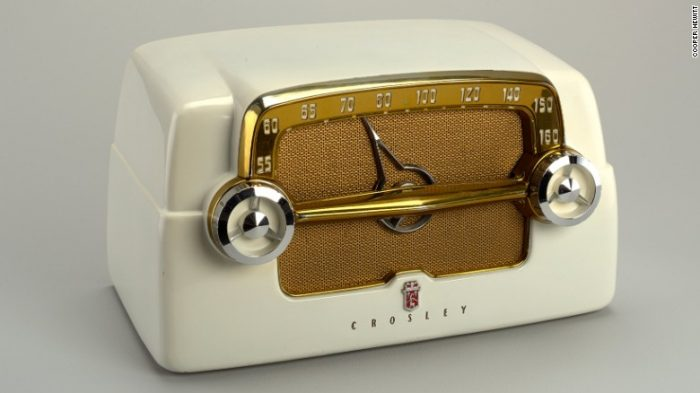 white radio with chrome dials