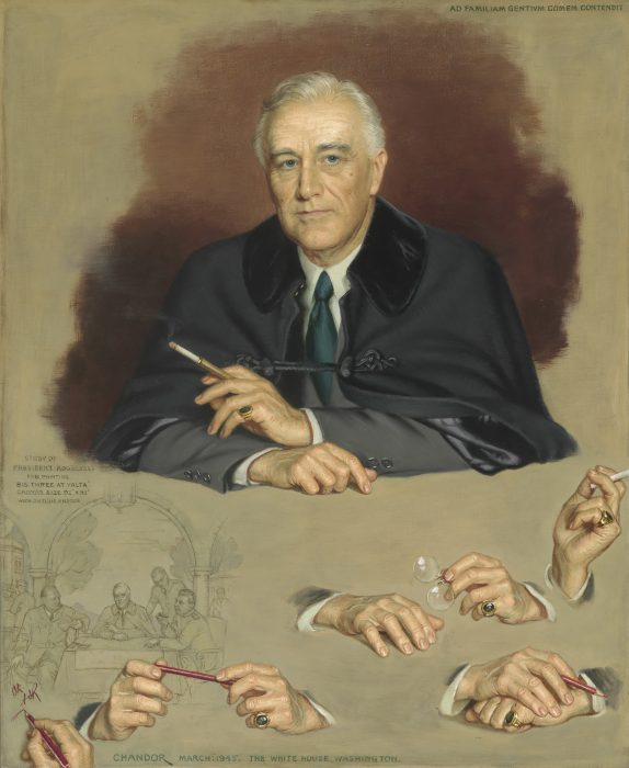 Sketch of seated Roosevelt, several sketches of hands