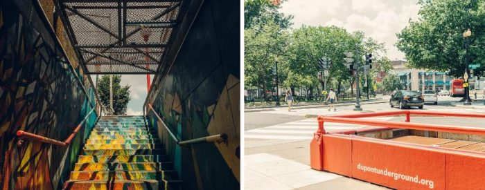 Interior and exterior views of old trolley station