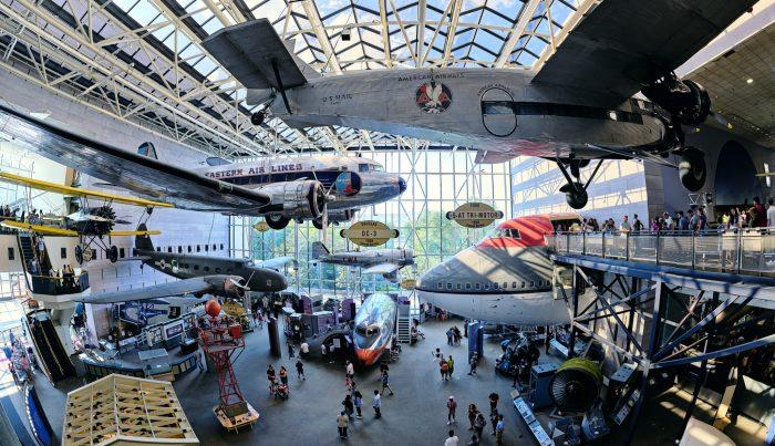 Interior of Milestones of Flight Gallery showing aircraft