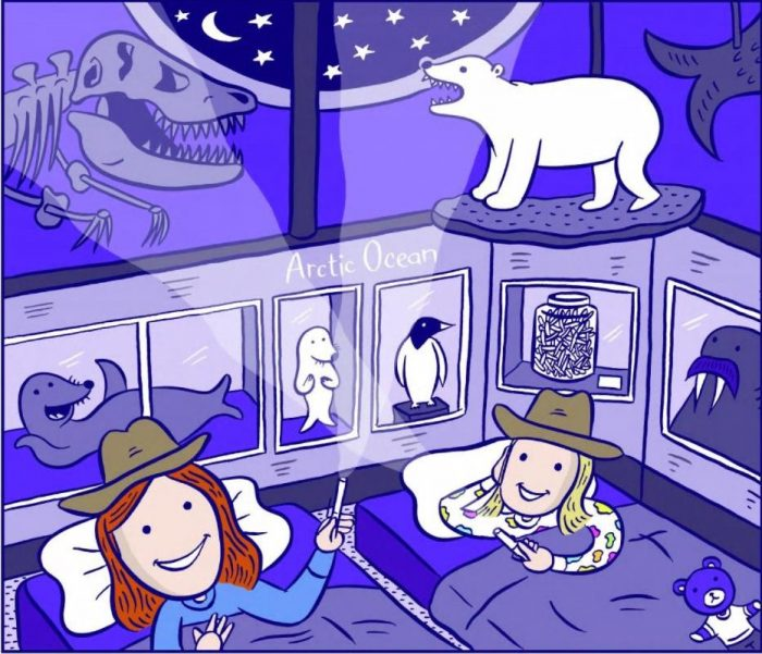 Illustration of kids in sleeping bags at National Museum of Natural History