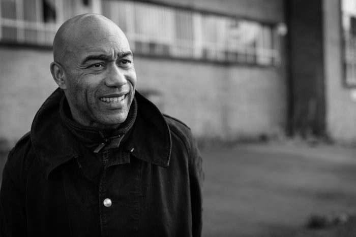 Black and white photo of Augustus Casely-Hayford
