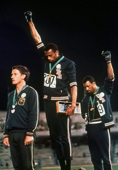 Olympic athletes on dais