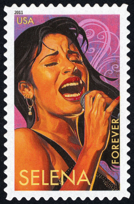 Stamp featuring painting of Selena singing