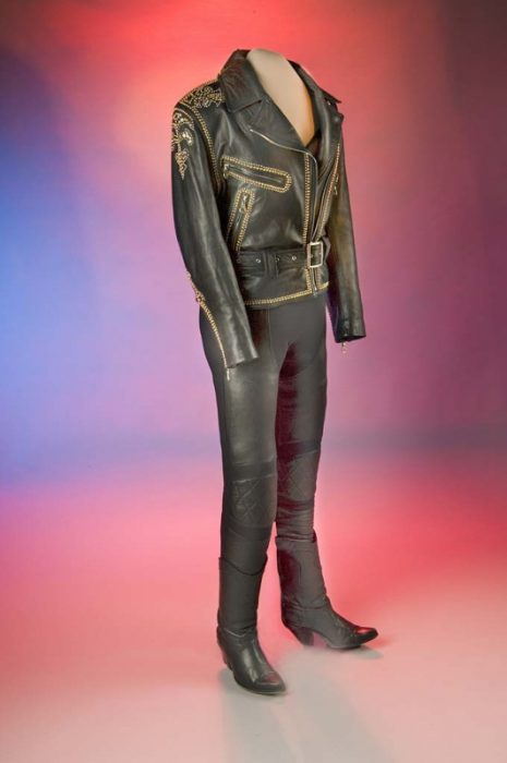 leather pants and zippered jacket on mannequin