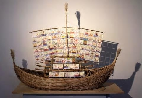 Model ship made of reeds