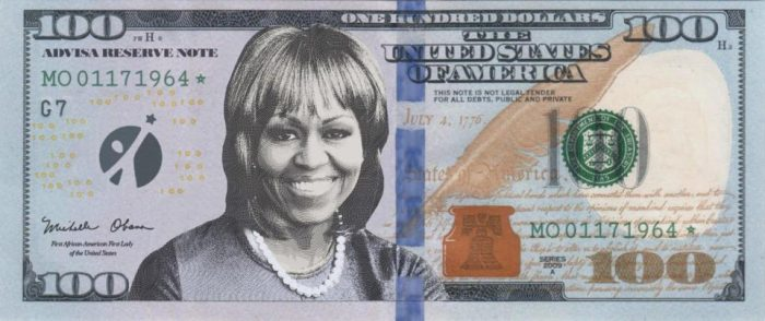 Hundred dollar bill with Michelle Obama's face