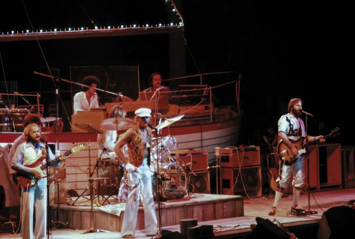 color photo of Beach Boys on stage