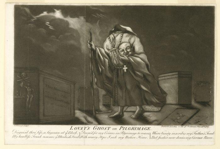 Mezzotint print of Simon Fraser holding his head