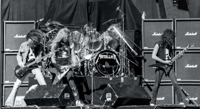 Black and white photo of Metallica on stage