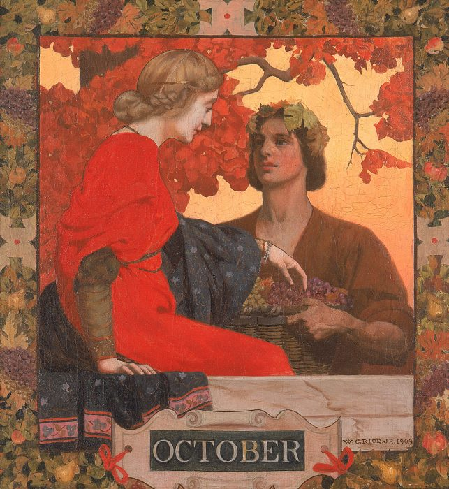 Art Nouveau painting of young couple in autumn colors