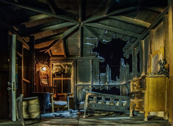 model of burned interior