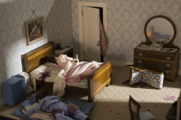 Model of bedroom murder scene