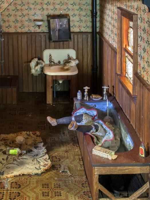 model of bathroom murder scene
