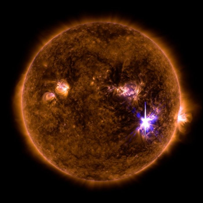 Image of sun showing solar flares