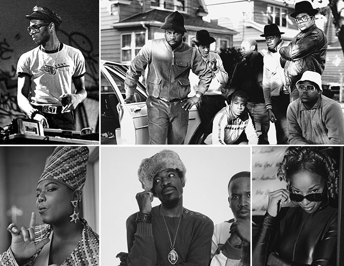Composite black and whitephoto of Hip-hop performers