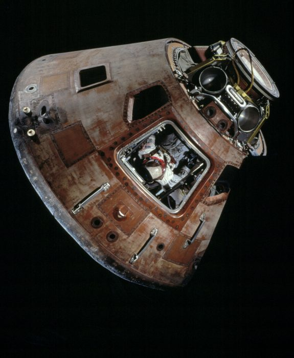 Command module photographed against black background