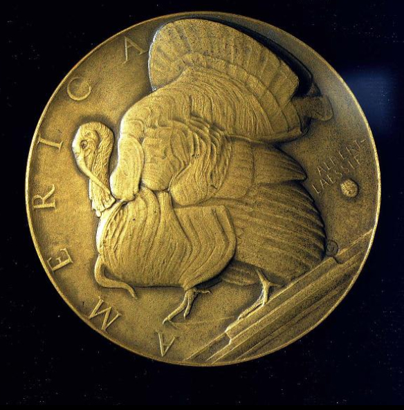 Medal with profile of turkey